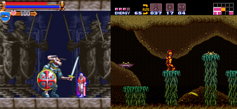A typical Castelvania Area compared to a typical Super Metroid Area